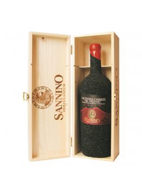3 litri Lacryma Christi del Vesuvio Rosso Sannino Herculaneum in pietra lavica in cassa di legno